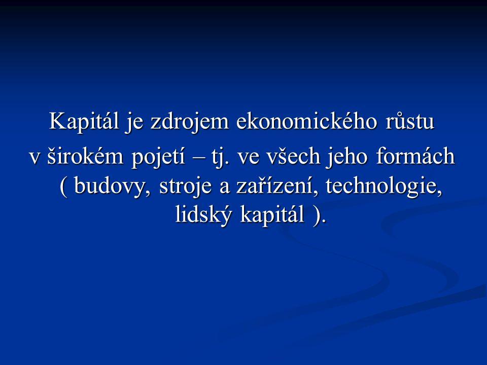 Kapitál je zdrojem ekonomického růstu v širokém pojetí – tj.