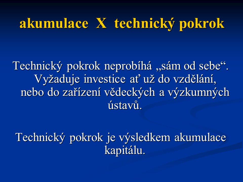 "akumulace X technický pokrok Technický pokrok neprobíhá ""sám od sebe ."