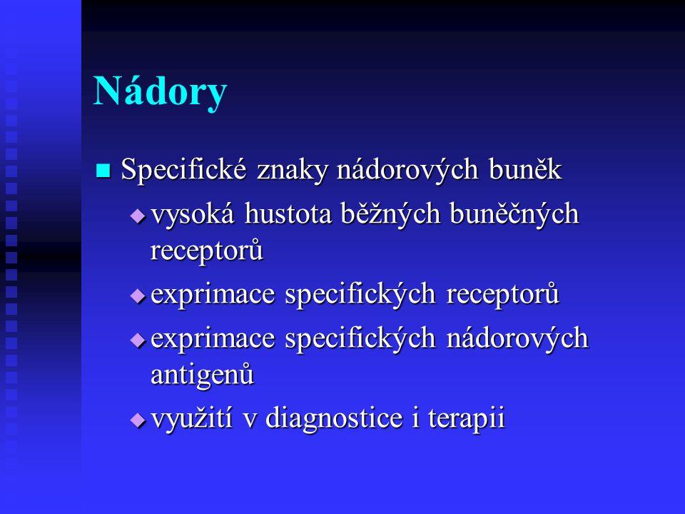 Radiofarmaka pro diagnostiku Nespecifická – lokalizační (pozitivní či negativní) Nespecifická – lokalizační (pozitivní či negativní) Pro PET a PET/CT Pro PET a PET/CT 18 F-FDG – anaerobní metabolismus 18 F-FDG – anaerobní metabolismus Pro planární, SPECT a SPECT/CT Pro planární, SPECT a SPECT/CT 99m Tc difosfonáty – kostní scan 99m Tc difosfonáty – kostní scan Koloidy – scinti jater a slezinyKoloidy – scinti jater a sleziny Pertechnetát – štítná žlázaPertechnetát – štítná žláza 99m Tc MIBI – různé tumory 99m Tc MIBI – různé tumory 67 Ga – jako FDG – lokalizace ložisek 67 Ga – jako FDG – lokalizace ložisek značené leukocyty – kostní dřeňznačené leukocyty – kostní dřeň