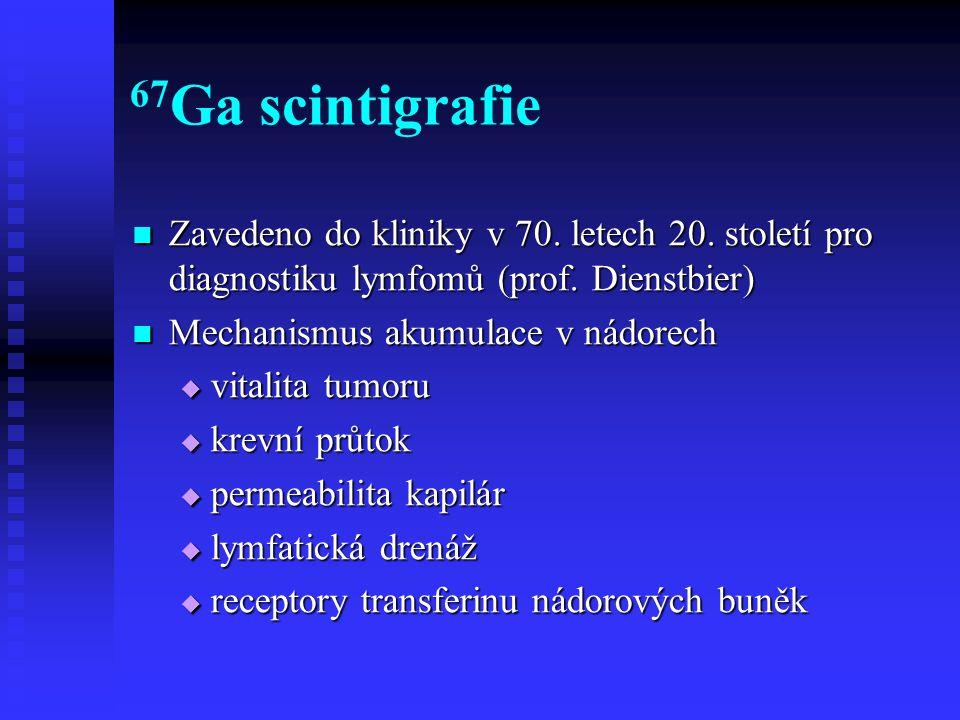67 Ga scintigrafie Zavedeno do kliniky v 70. letech 20. století pro diagnostiku lymfomů (prof. Dienstbier) Zavedeno do kliniky v 70. letech 20. stolet