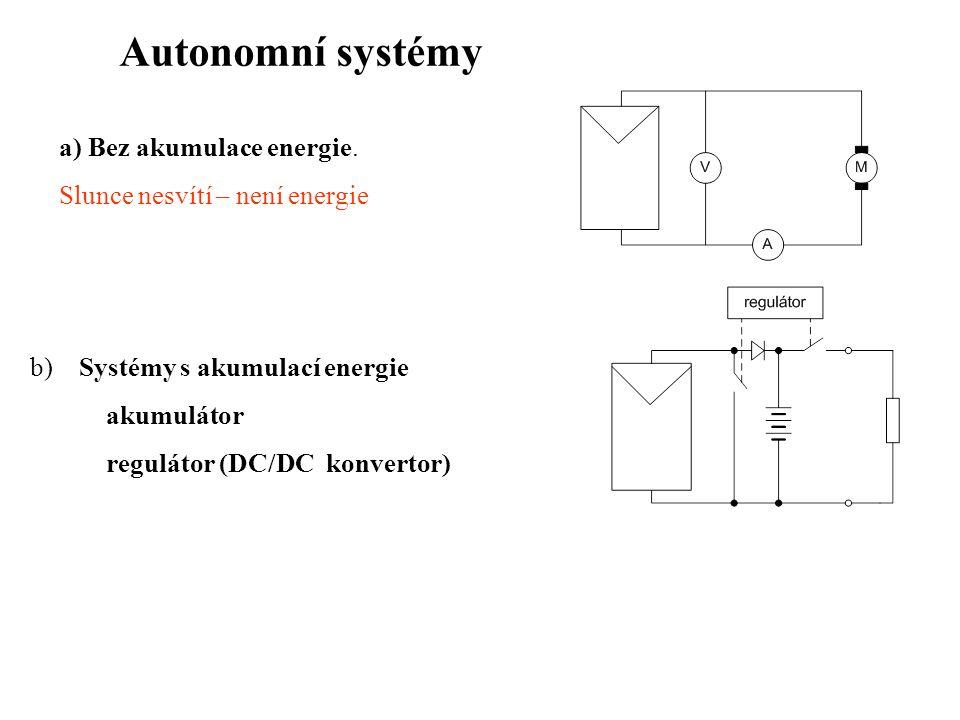 Autonomní systémy a) Bez akumulace energie.