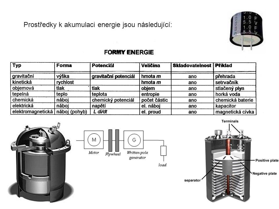 Prostředky k akumulaci energie jsou následující:
