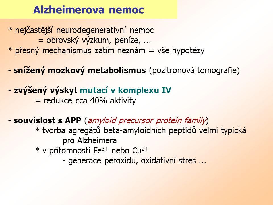Alzheimerova nemoc * nejčastější neurodegenerativní nemoc = obrovský výzkum, peníze,... * přesný mechanismus zatím neznám = vše hypotézy - snížený moz