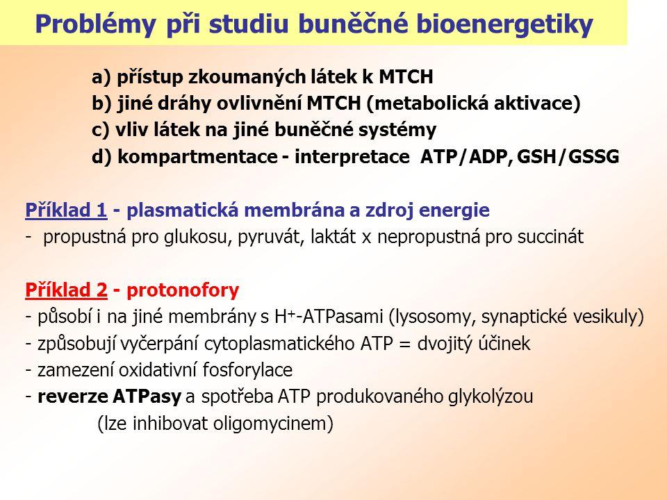 Problémy při studiu buněčné bioenergetiky a) přístup zkoumaných látek k MTCH b) jiné dráhy ovlivnění MTCH (metabolická aktivace) c) vliv látek na jiné