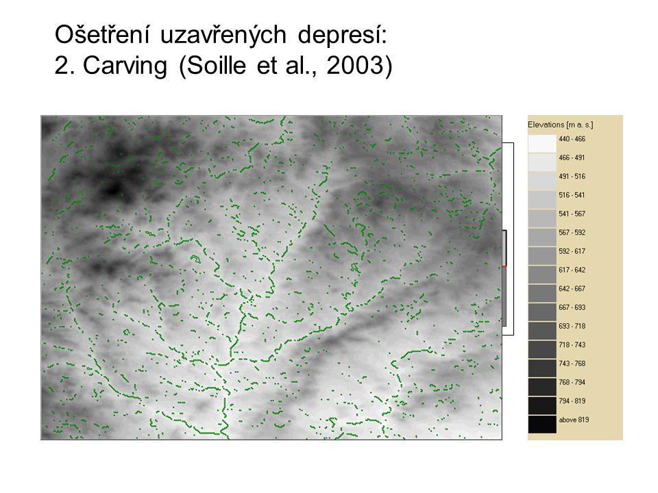 Ošetření uzavřených depresí: 2. Carving (Soille et al., 2003)