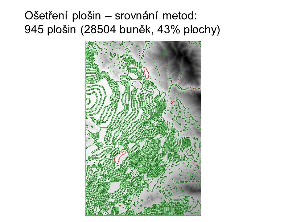 Ošetření plošin – srovnání metod: 945 plošin (28504 buněk, 43% plochy) Altamont (California) USGS DEM