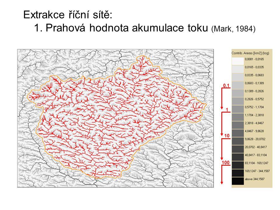 Extrakce říční sítě: 1. Prahová hodnota akumulace toku (Mark, 1984) 100 10 1 0.1