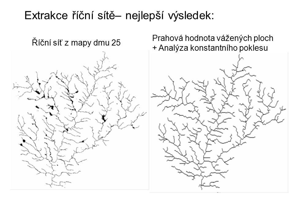 Extrakce říční sítě– nejlepší výsledek: Říční síť z mapy dmu 25 Prahová hodnota vážených ploch + Analýza konstantního poklesu