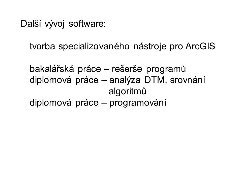 Další vývoj software: tvorba specializovaného nástroje pro ArcGIS bakalářská práce – rešerše programů diplomová práce – analýza DTM, srovnání algoritmů diplomová práce – programování