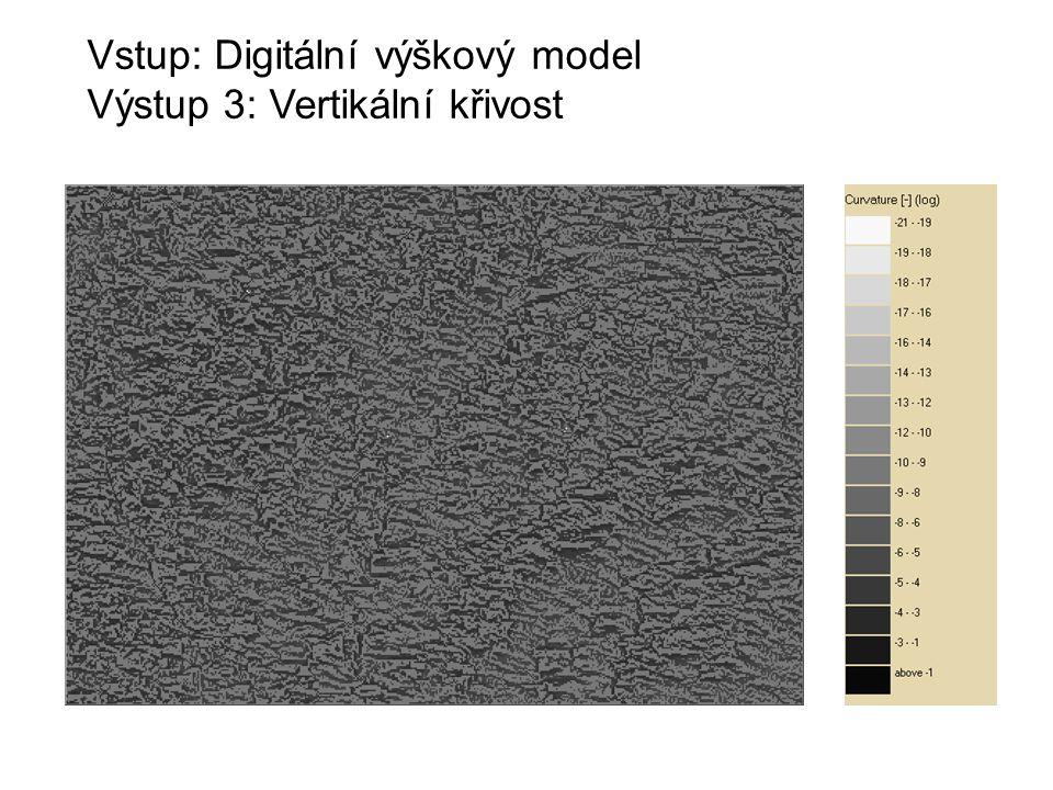 Vstup: Digitální výškový model Výstup 3: Vertikální křivost