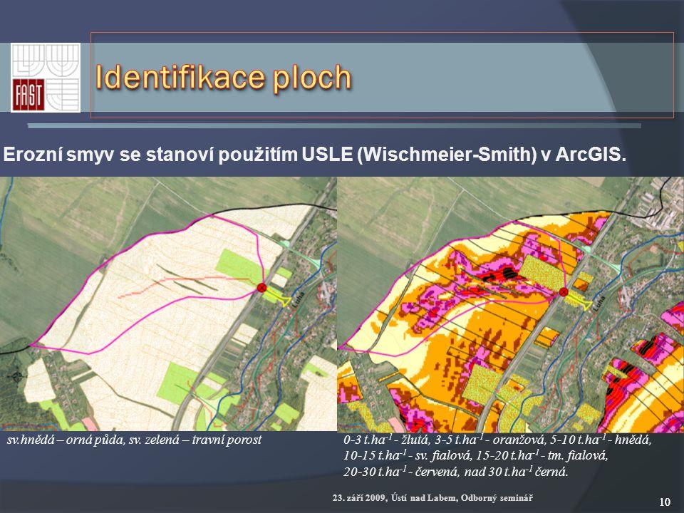 23. září 2009, Ústí nad Labem, Odborný seminář 10 Erozní smyv se stanoví použitím USLE (Wischmeier-Smith) v ArcGIS. 0 ‑ 3 t.ha -1 - žlutá, 3 ‑ 5 t.ha
