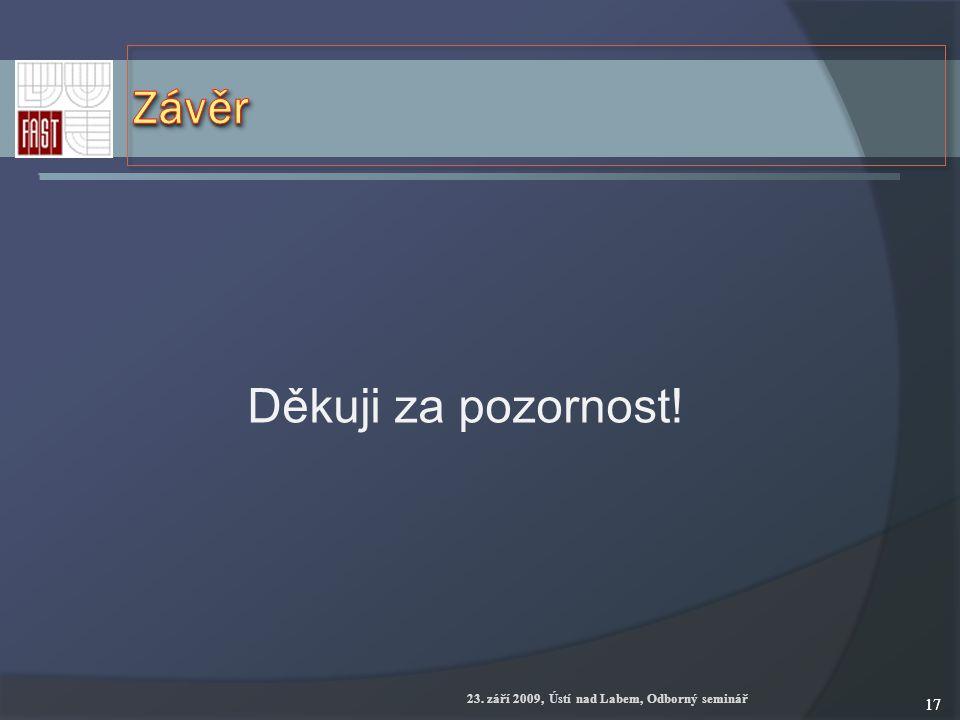 23. září 2009, Ústí nad Labem, Odborný seminář 17 Děkuji za pozornost!