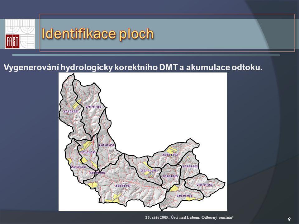 23. září 2009, Ústí nad Labem, Odborný seminář 99 Vygenerování hydrologicky korektního DMT a akumulace odtoku.