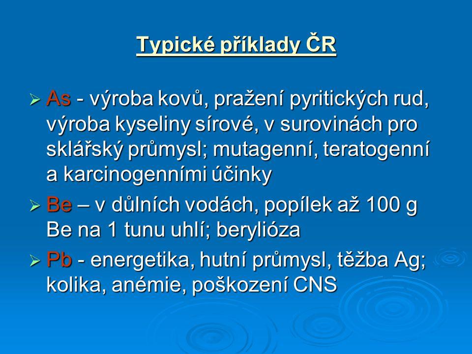 Typické příklady ČR  As - výroba kovů, pražení pyritických rud, výroba kyseliny sírové, v surovinách pro sklářský průmysl; mutagenní, teratogenní a k