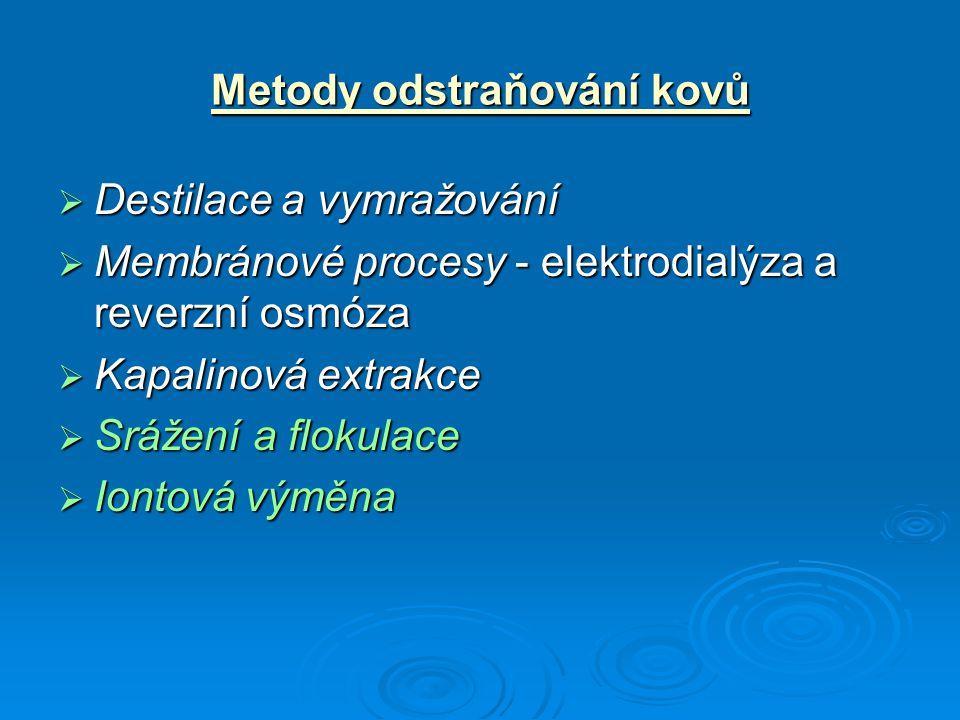 Metody odstraňování kovů  Destilace a vymražování  Membránové procesy - elektrodialýza a reverzní osmóza  Kapalinová extrakce  Srážení a flokulace  Iontová výměna