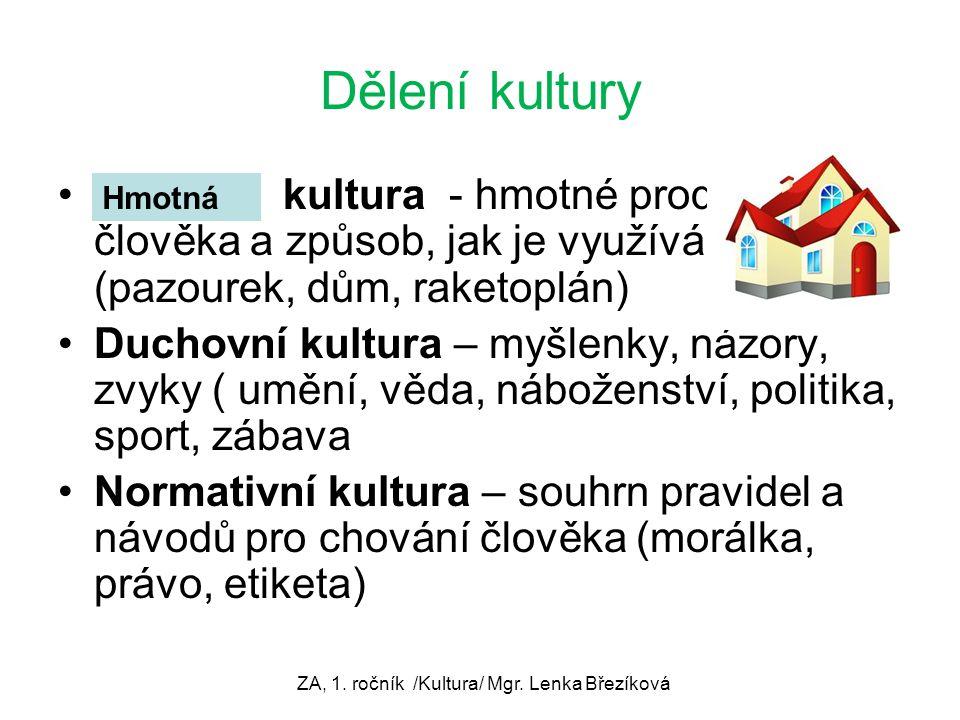 Dělení kultury kultura - hmotné produkty člověka a způsob, jak je využívá (pazourek, dům, raketoplán) Duchovní kultura – myšlenky, názory, zvyky ( umě