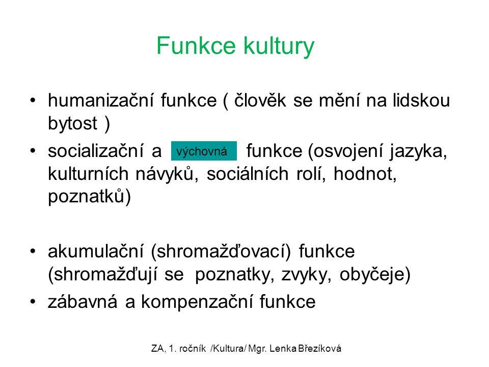 Funkce kultury humanizační funkce ( člověk se mění na lidskou bytost ) socializační a funkce (osvojení jazyka, kulturních návyků, sociálních rolí, hod