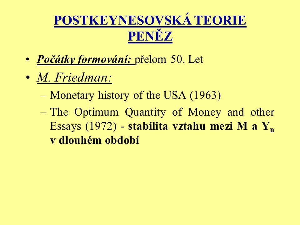 POSTKEYNESOVSKÁ TEORIE PENĚZ Počátky formování: přelom 50. Let M. Friedman: –Monetary history of the USA (1963) –The Optimum Quantity of Money and oth