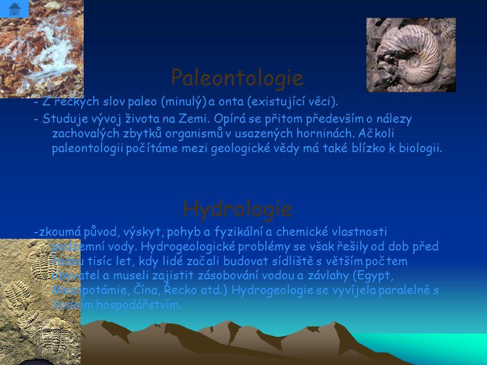 Paleontologie - Z řeckých slov paleo (minulý) a onta (existující věci). - Studuje vývoj života na Zemi. Opírá se přitom především o nálezy zachovalých