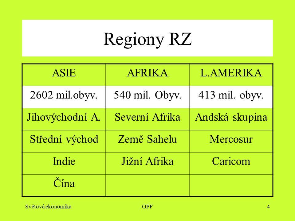 Světová ekonomikaOPF4 Regiony RZ ASIEAFRIKAL.AMERIKA 2602 mil.obyv.540 mil.