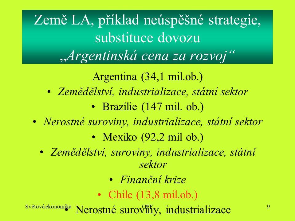 """Světová ekonomikaOPF9 Země LA, příklad neúspěšné strategie, substituce dovozu """"Argentinská cena za rozvoj Argentina (34,1 mil.ob.) Zemědělství, industrializace, státní sektor Brazílie (147 mil."""