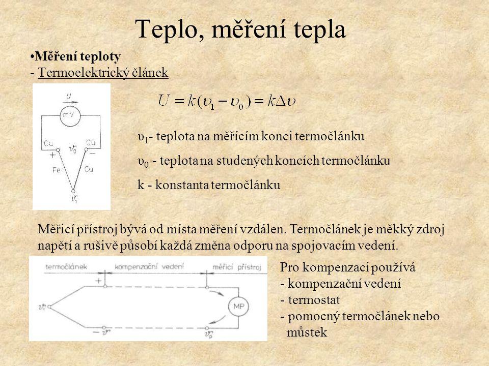 Měření teploty - Termoelektrický článek Teplo, měření tepla υ 1 - teplota na měřícím konci termočlánku υ 0 - teplota na studených koncích termočlánku k - konstanta termočlánku Měřicí přístroj bývá od místa měření vzdálen.