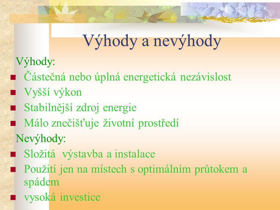 Výhody a nevýhody Výhody: Částečná nebo úplná energetická nezávislost Vyšší výkon Stabilnější zdroj energie Málo znečišťuje životní prostředí Nevýhody
