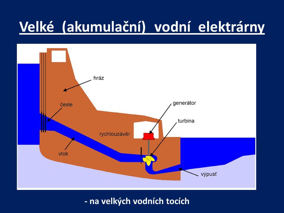 Velké (akumulační) vodní elektrárny - na velkých vodních tocích