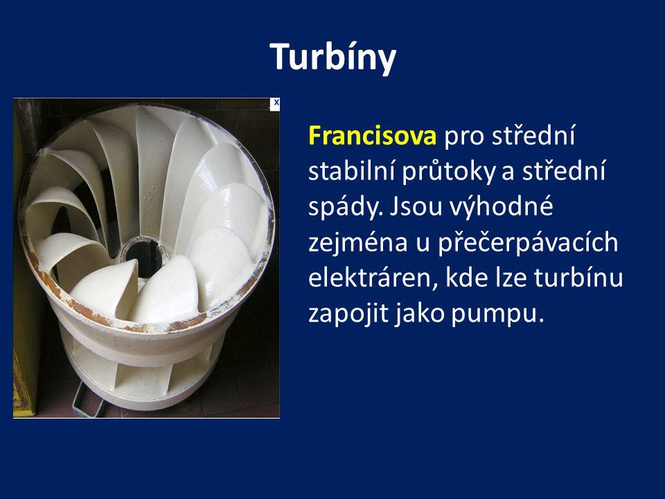 Turbíny Francisova pro střední stabilní průtoky a střední spády.