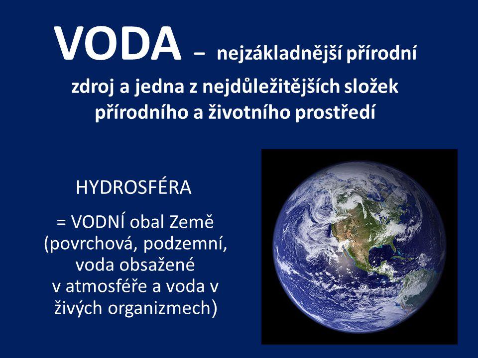 VODA – nejzákladnější přírodní zdroj a jedna z nejdůležitějších složek přírodního a životního prostředí HYDROSFÉRA = VODNÍ obal Země (povrchová, podzemní, voda obsažené v atmosféře a voda v živých organizmech )