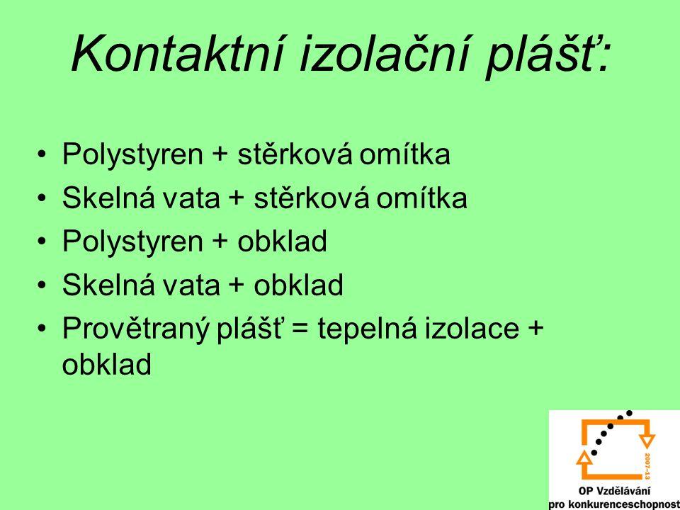 Kontaktní izolační plášť: Polystyren + stěrková omítka Skelná vata + stěrková omítka Polystyren + obklad Skelná vata + obklad Provětraný plášť = tepelná izolace + obklad