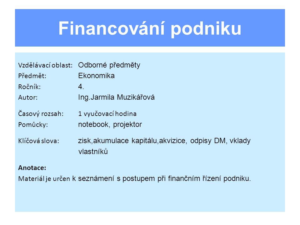 Vlastní zdroje financování Zisk Odpisy dlouhodobého majetku Vklady vlastníků Vklad tichého společníka Ostatní vlastní zdroje