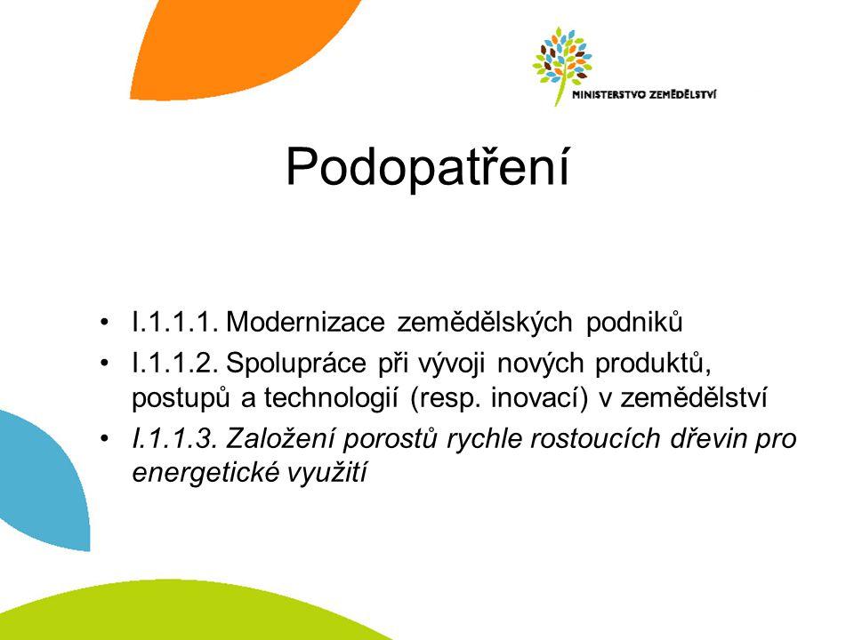 Podopatření I.1.1.1.Modernizace zemědělských podniků I.1.1.2.