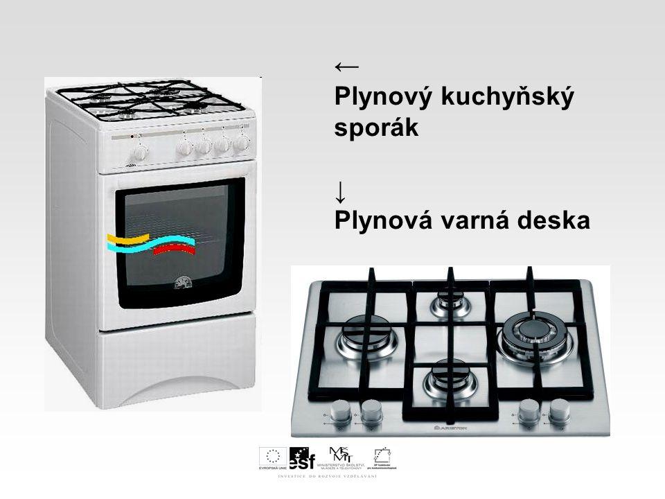 I.Druhy plynových spotřebičů A. Plynové spotřebiče pro domácnosti Oblasti použití 3.