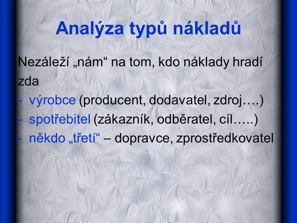 """Analýza typů nákladů Nezáleží """"nám"""" na tom, kdo náklady hradí zda -výrobce (producent, dodavatel, zdroj….) -spotřebitel (zákazník, odběratel, cíl…..)"""