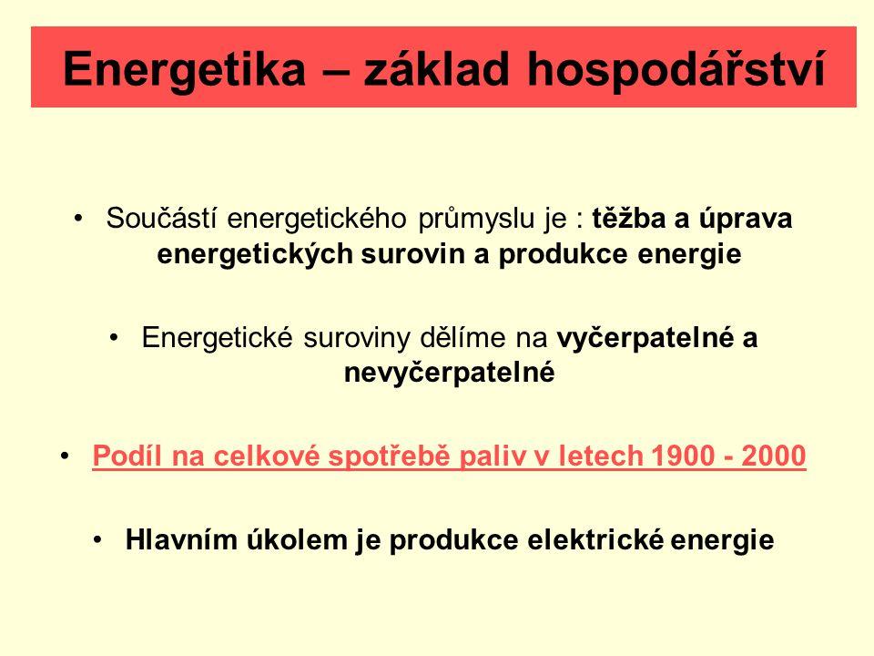 Energetika – základ hospodářství Součástí energetického průmyslu je : těžba a úprava energetických surovin a produkce energie Energetické suroviny dělíme na vyčerpatelné a nevyčerpatelné Podíl na celkové spotřebě paliv v letech 1900 - 2000 Hlavním úkolem je produkce elektrické energie