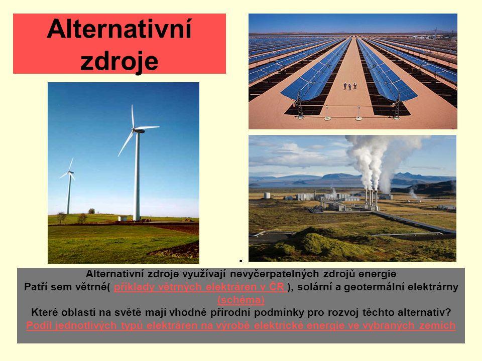 Alternativní zdroje Alternativní zdroje využívají nevyčerpatelných zdrojů energie Patří sem větrné( příklady větrných elektráren v ČR ), solární a geotermální elektrárny (schéma) Které oblasti na světě mají vhodné přírodní podmínky pro rozvoj těchto alternativ.