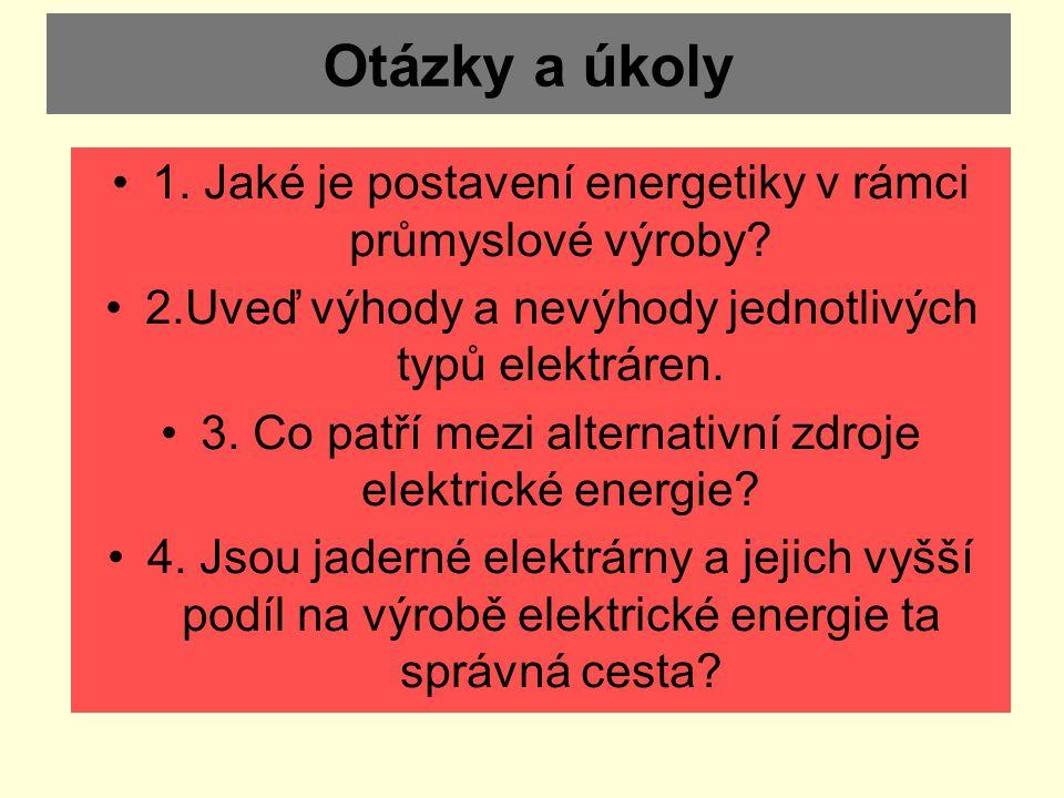 Otázky a úkoly 1. Jaké je postavení energetiky v rámci průmyslové výroby? 2.Uveď výhody a nevýhody jednotlivých typů elektráren. 3. Co patří mezi alte