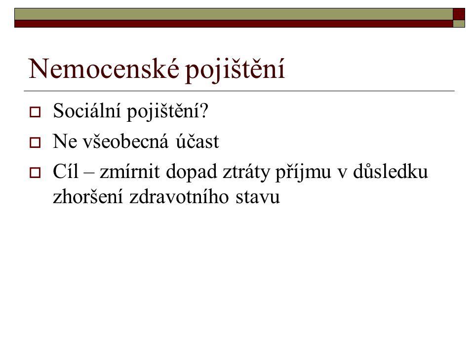 Nemocenské pojištění  Sociální pojištění.
