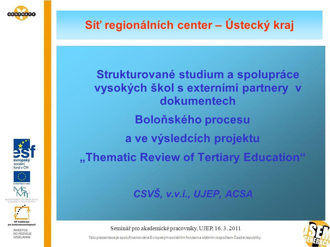 Boloňský proces Základní princip harmonizace v rámci Boloňského procesu  Třístupňová struktura terciárního studia  studijní programy * bakalářské * magisterské * doktorské Seminář pro akademické pracovníky, UJEP, 16.