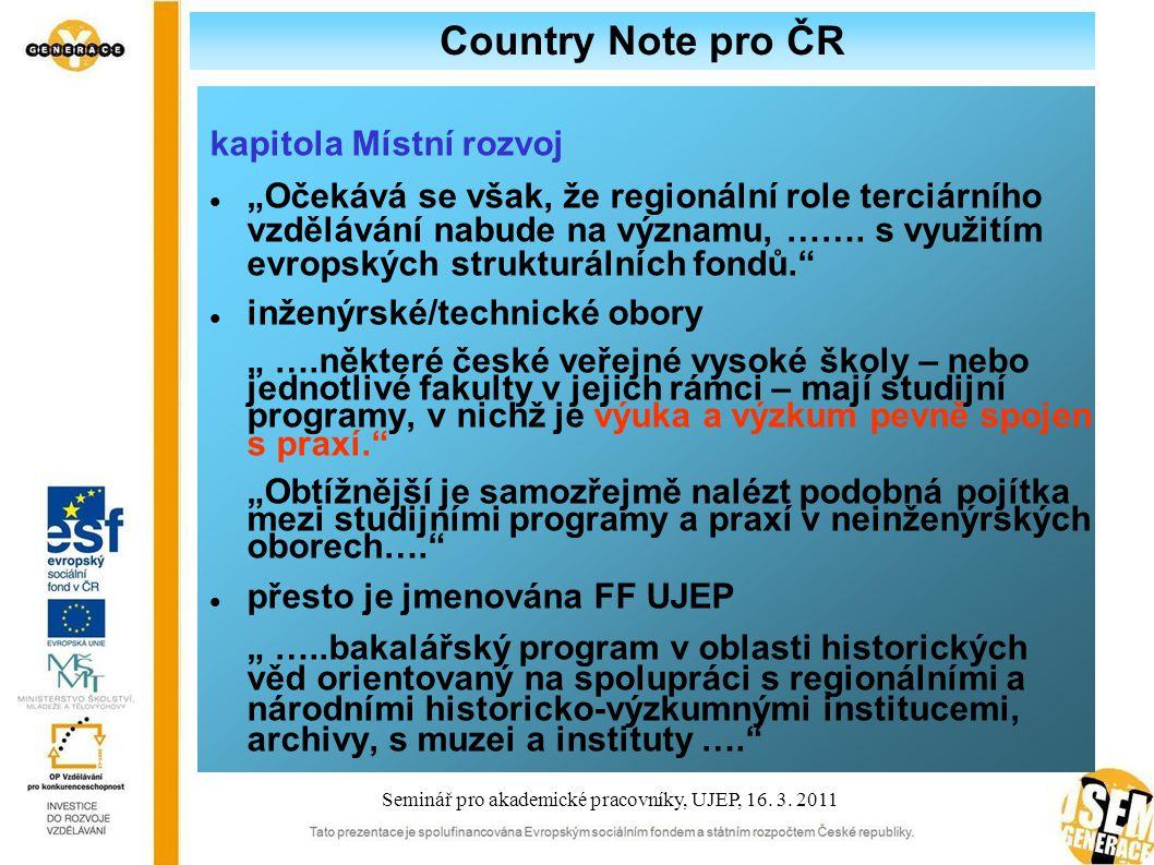 """Country Note pro ČR kapitola Místní rozvoj """"Očekává se však, že regionální role terciárního vzdělávání nabude na významu, ……."""