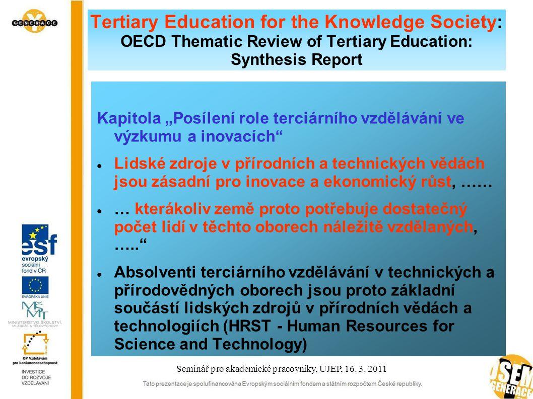 """Tertiary Education for the Knowledge Society: OECD Thematic Review of Tertiary Education: Synthesis Report Kapitola """"Posílení role terciárního vzdělávání ve výzkumu a inovacích Lidské zdroje v přírodních a technických vědách jsou zásadní pro inovace a ekonomický růst, …… … kterákoliv země proto potřebuje dostatečný počet lidí v těchto oborech náležitě vzdělaných, ….. Absolventi terciárního vzdělávání v technických a přírodovědných oborech jsou proto základní součástí lidských zdrojů v přírodních vědách a technologiích (HRST - Human Resources for Science and Technology) Seminář pro akademické pracovníky, UJEP, 16."""