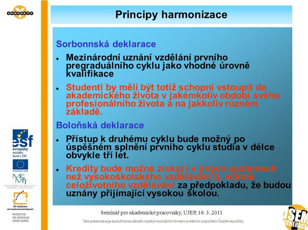 Principy harmonizace Pražské komuniké Ministři vyzvali univerzity …, aby plně využily stávající národní legislativy i evropských nástrojů k usnadnění akademického i profesního uznávání části studia i titulů tak, aby občané mohli efektivně využívat svých kvalifikací.