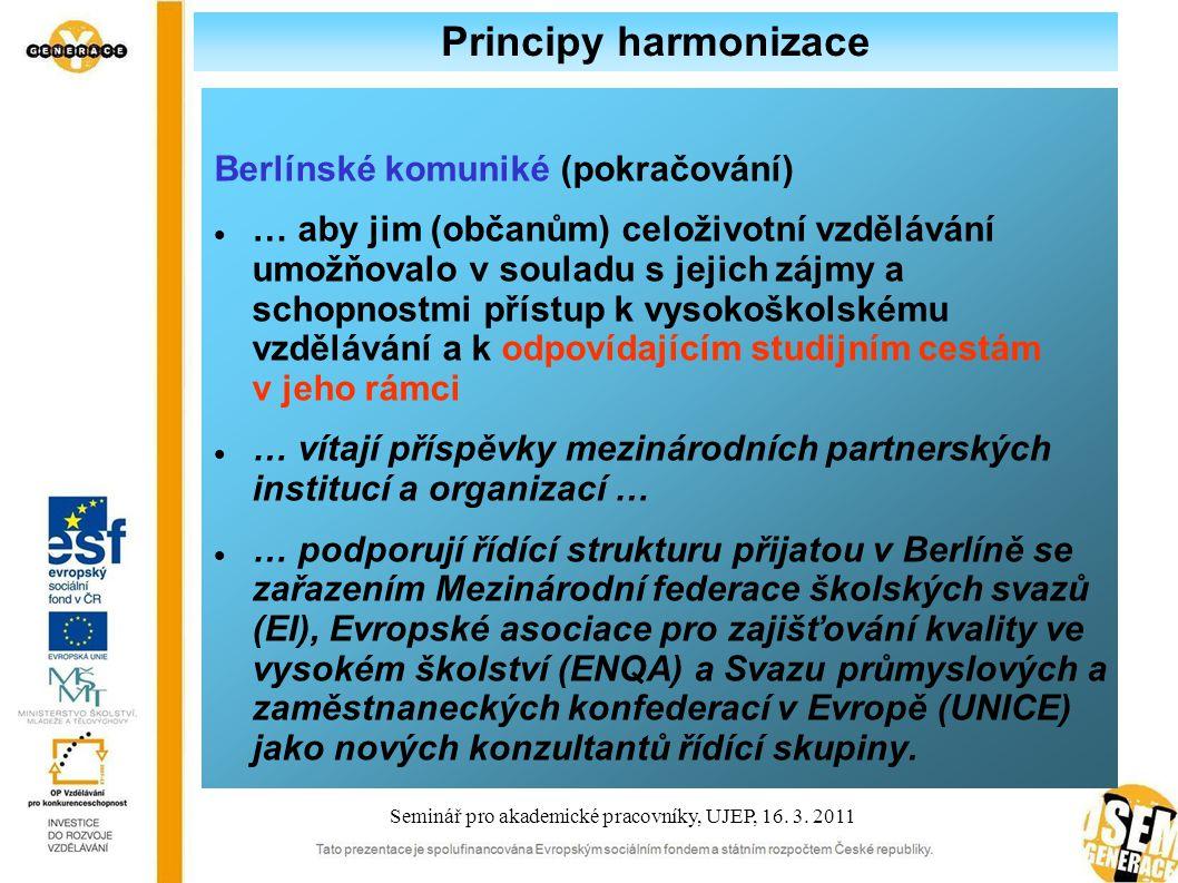 Principy harmonizace Berlínské komuniké (pokračování) … aby jim (občanům) celoživotní vzdělávání umožňovalo v souladu s jejich zájmy a schopnostmi přístup k vysokoškolskému vzdělávání a k odpovídajícím studijním cestám v jeho rámci … vítají příspěvky mezinárodních partnerských institucí a organizací … … podporují řídící strukturu přijatou v Berlíně se zařazením Mezinárodní federace školských svazů (EI), Evropské asociace pro zajišťování kvality ve vysokém školství (ENQA) a Svazu průmyslových a zaměstnaneckých konfederací v Evropě (UNICE) jako nových konzultantů řídící skupiny.
