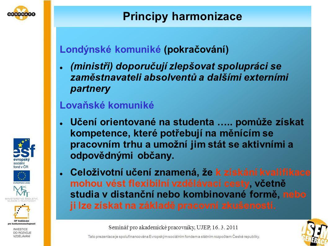 Principy harmonizace Londýnské komuniké (pokračování) (ministři) doporučují zlepšovat spolupráci se zaměstnavateli absolventů a dalšími externími partnery Lovaňské komuniké Učení orientované na studenta …..