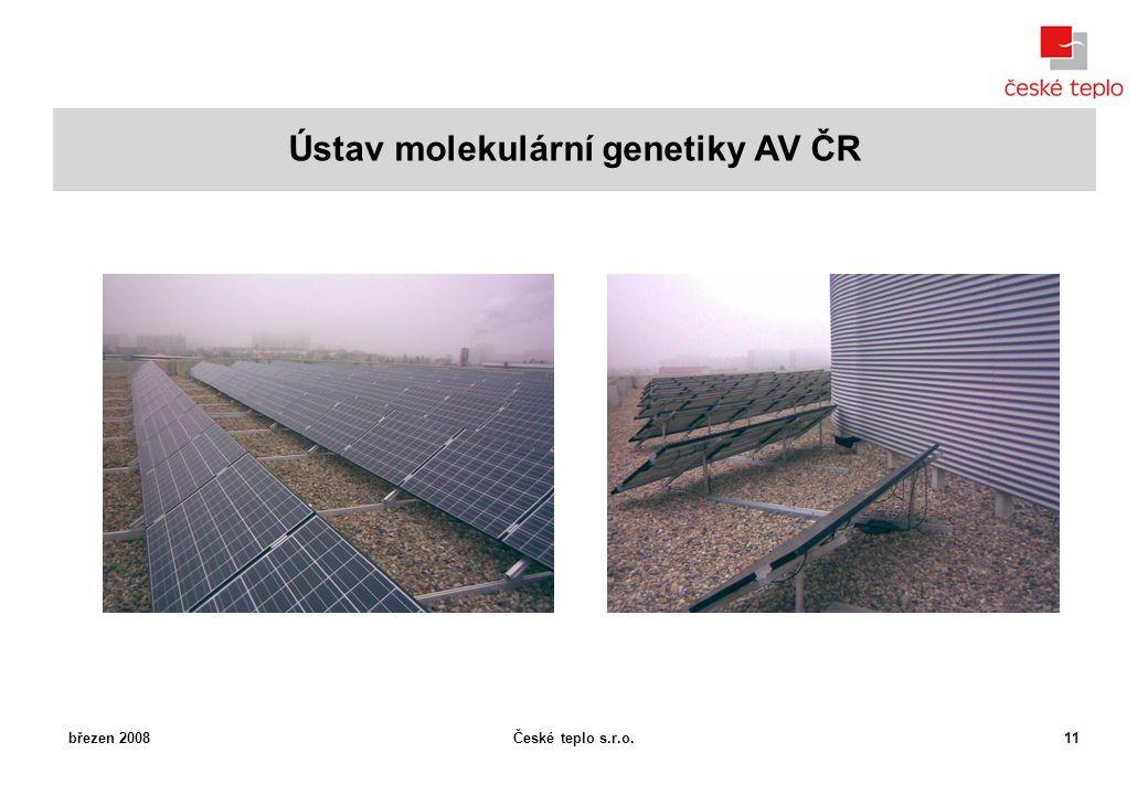 České teplo s.r.o.březen 200811 Ústav molekulární genetiky AV ČR