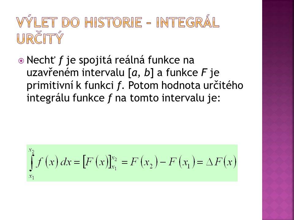  Nechť ƒ je spojitá reálná funkce na uzavřeném intervalu [a, b] a funkce F je primitivní k funkci ƒ. Potom hodnota určitého integrálu funkce f na tom