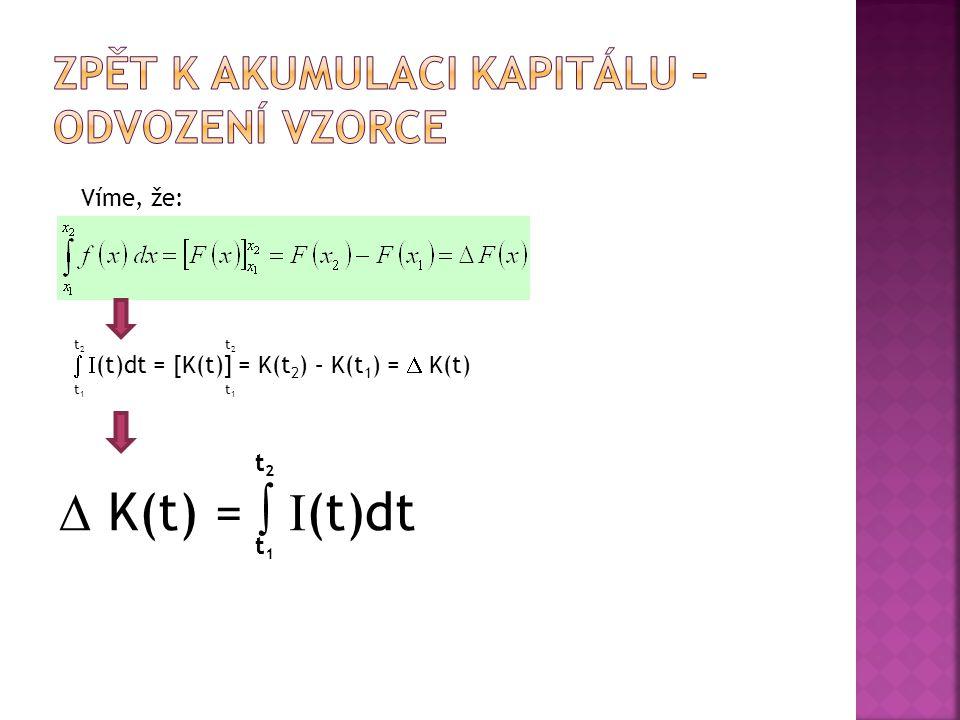 Víme, že:   (t)dt = [K(t)] = K(t 2 ) – K(t 1 ) =  K(t) t1t1 t2t2 t2t2 t1t1  K(t) =   (t)dt t1t1 t2t2
