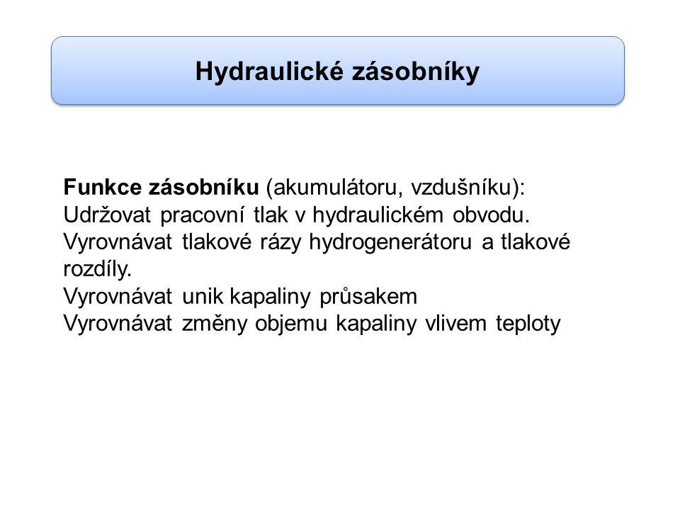 Hydraulické zásobníky Funkce zásobníku (akumulátoru, vzdušníku): Udržovat pracovní tlak v hydraulickém obvodu.