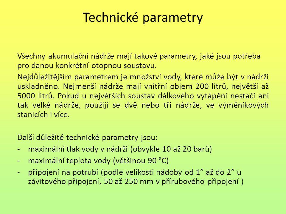 Technické parametry Všechny akumulační nádrže mají takové parametry, jaké jsou potřeba pro danou konkrétní otopnou soustavu. Nejdůležitějším parametre